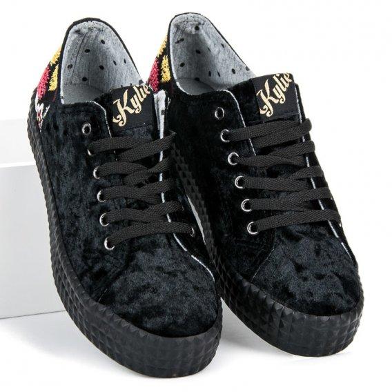 Velúrové čierne tenisky K1721201NE