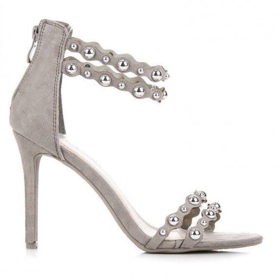Šedé sandále s ozdobami LE18-2867G