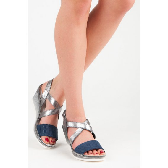 Kožené sandále na kline RAM1218S