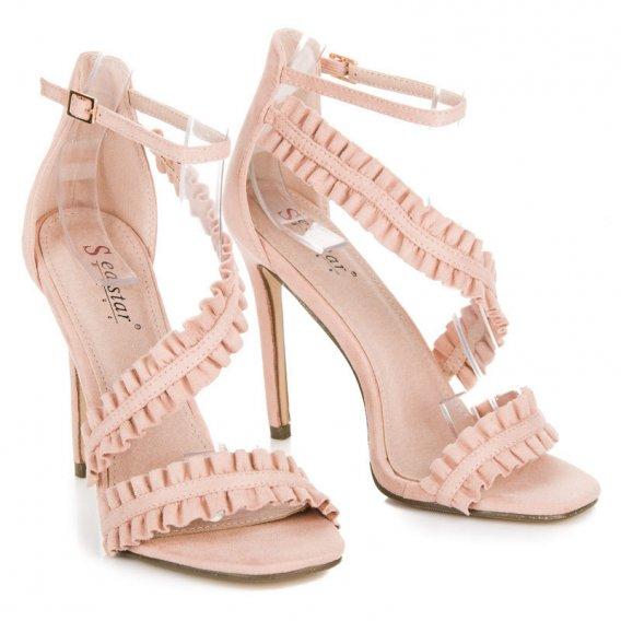 Sandále na ihličkovom podpätku s volánmi LE045P