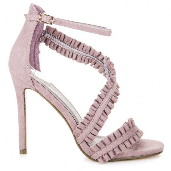 Sandále na ihličkovom podpätku s volánmi LE045PU