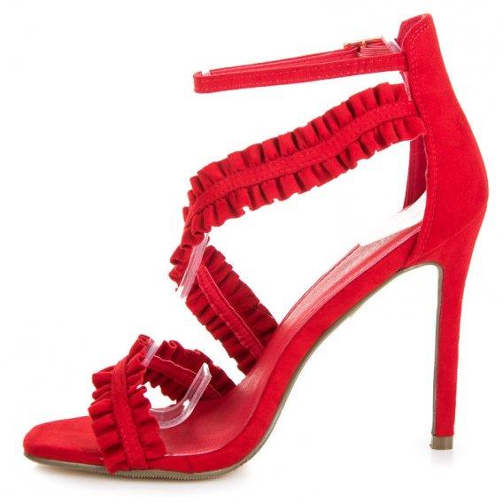 Sandále na ihličkovom podpätku s volánmi LE045R