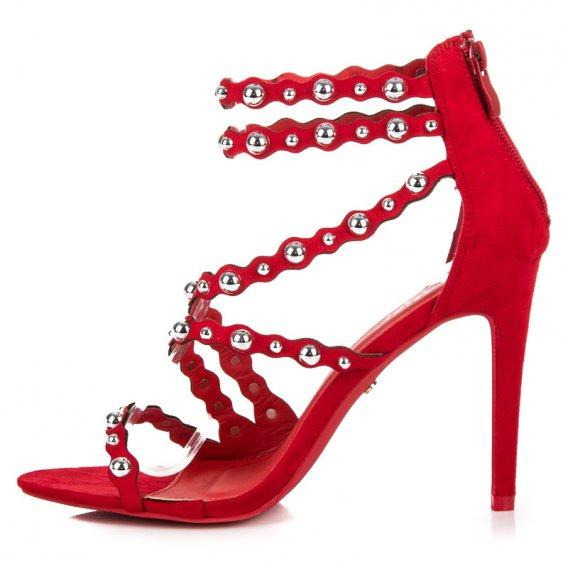 Sandále na podpätku na zips LE042R