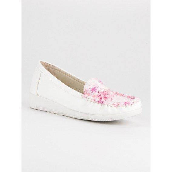 Biele mokasíny s kvetinami 3189-41W-R
