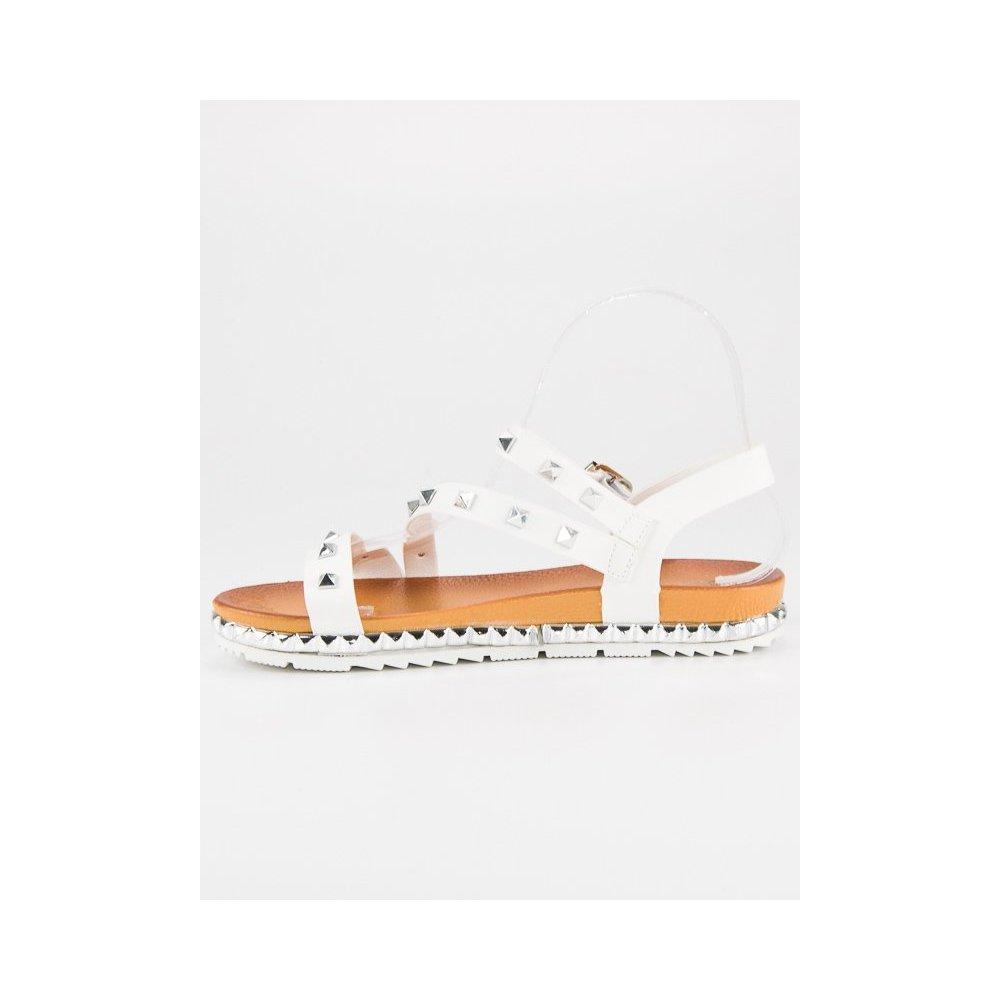 b6caf8e89c Biele sandále s cvokmi WSJ-51W - RioTopanky.sk
