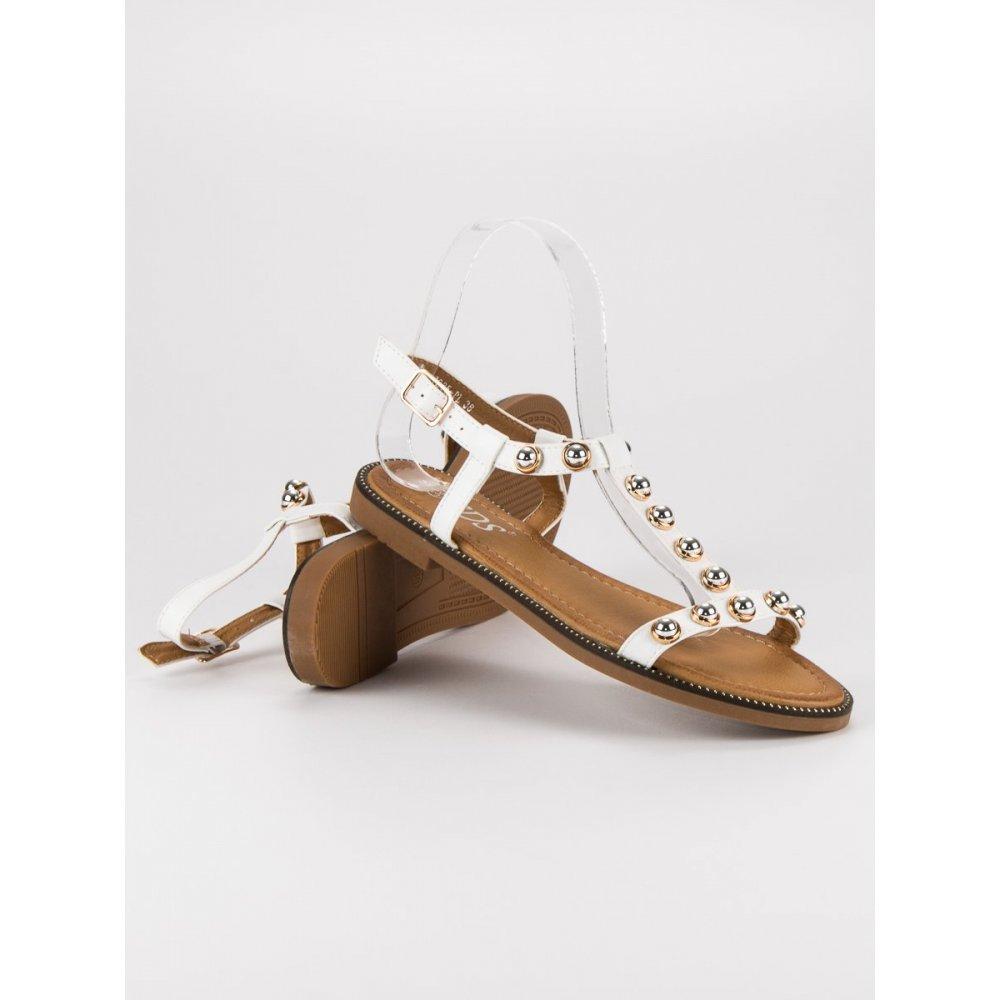 d3954642fd1d Biele sandále so sponou 7285W - RioTopanky.sk