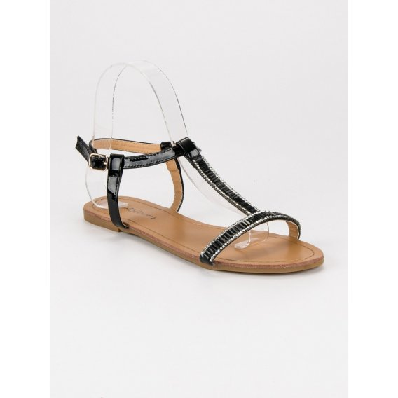 Lakované ploché sandále SY644B