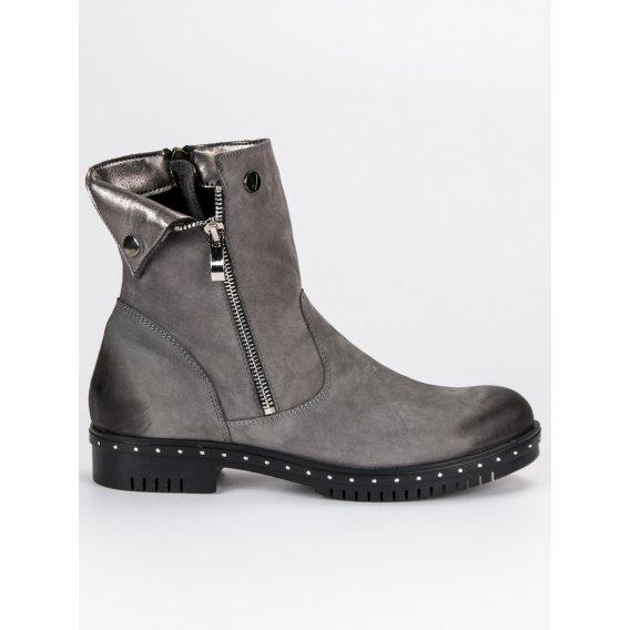 Šedé kožené topánky Vinceza 1266/5G