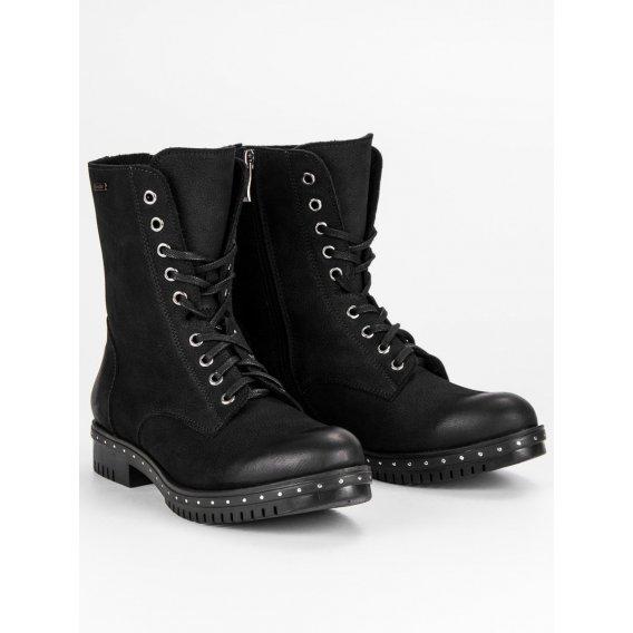 Čierne kožené workery 1262/5B