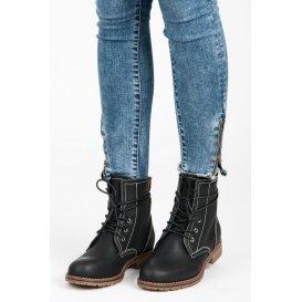 Čierne členkové topánky na nízkom podpätku JA3189B