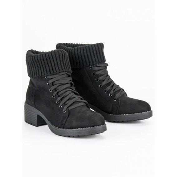 Šnurovacie čierne topánky NC103B