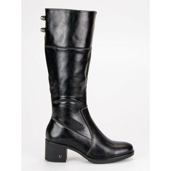 Čierne čižmy na podpätku Vinceza XY19-10454B