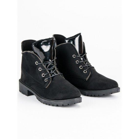 Čierne viazané topánky B820B