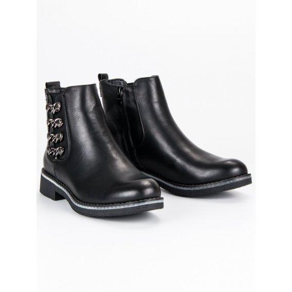 Čierne topánky na plochom podpätku F2333B