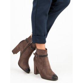 Semišové topánky na podpätku Vinceza YQE19-1777TAN