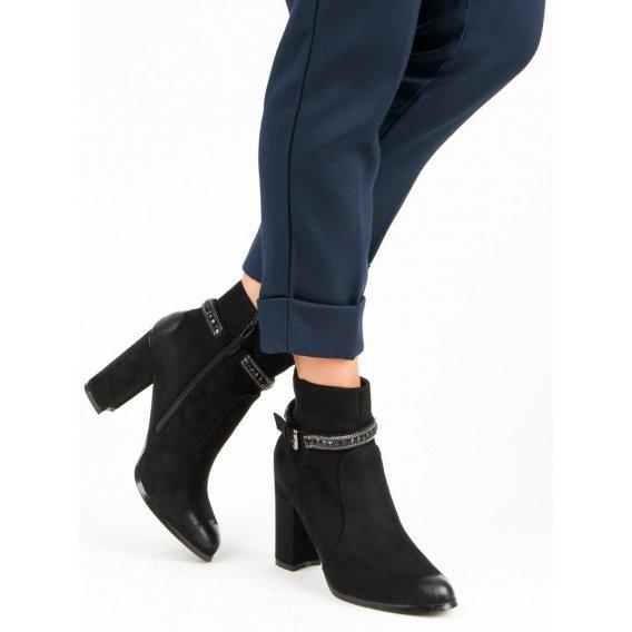 Semišové topánky na podpätku Vinceza YQE19-1777B