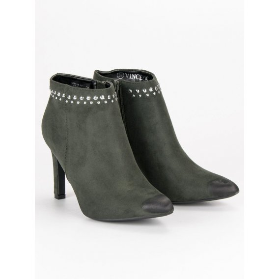 Semišové topánky na podpätku Vinceza YQE19-1776GR