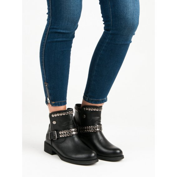 Rockové čierne topánky HUQ-008B