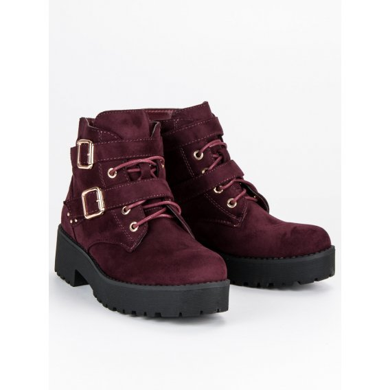 Semišové bordové topánky MDM122WI