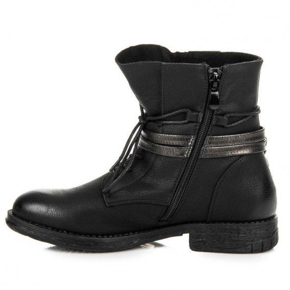 Čierne členkové topánky na zips