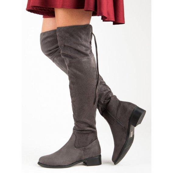 Semišové čižmy nad koleno