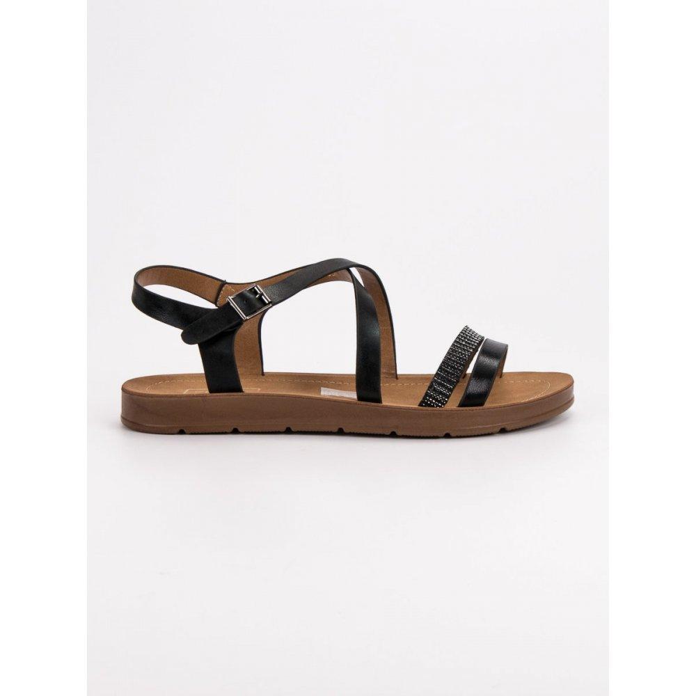 a3bad9df1 Čierne sandále s kryštálmi - RIOtopánky.sk