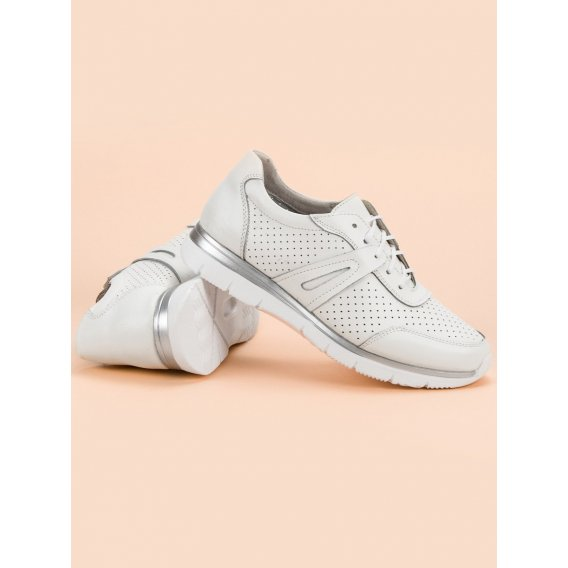 Biele kožené športové topánky