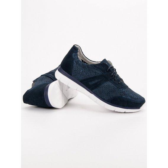 Tmavomodré kožené športové topánky