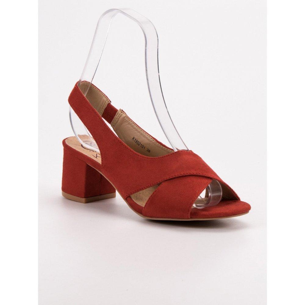 c20bdc5bb923 Semišové červené sandále - RIOtopánky.sk