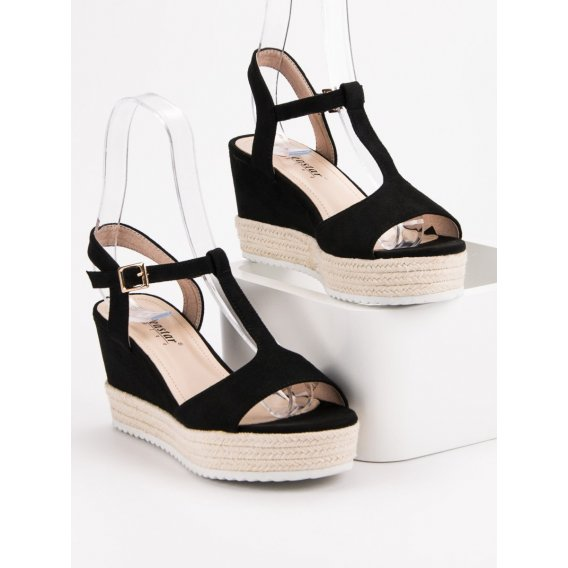 Čierne sandále espadrilky