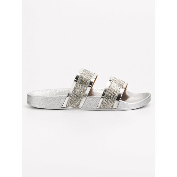 Strieborné sandále s kryštálmi