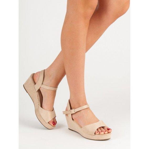 Béžové semišové sandále