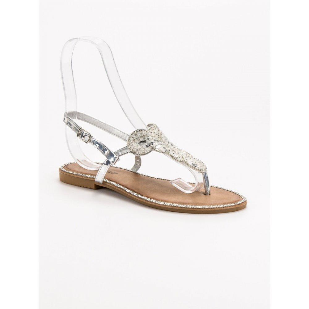 13620619f056 Pohodlné strieborné sandále - RIOtopánky.sk