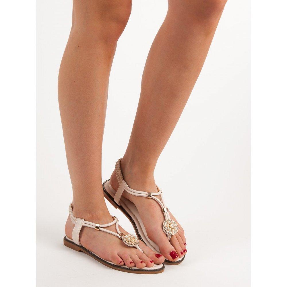 f2a8e3caf3ae6 Béžové sandále s gumičkou - RIOtopánky.sk