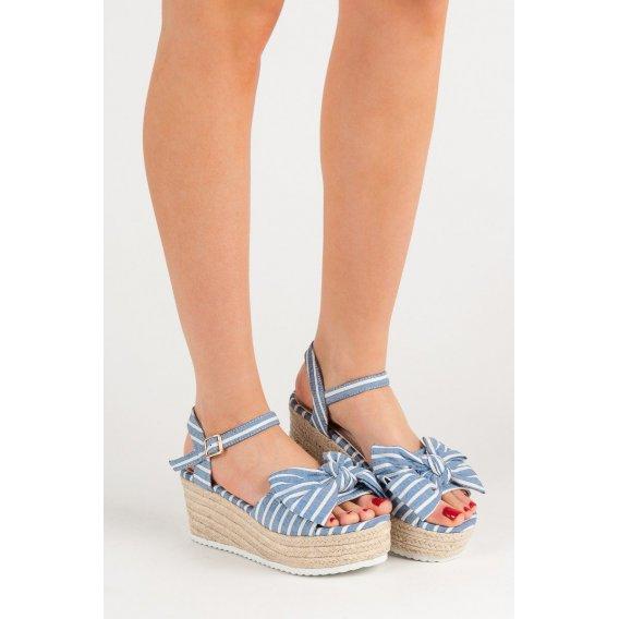Sandále na kline s mašľou