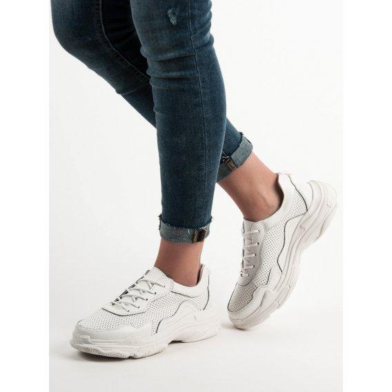 Biele kožené sneakersy