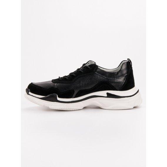 Čierne kožené sneakersy