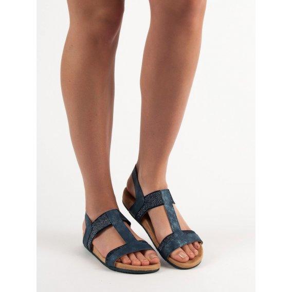 Modré nazúvacie sandále