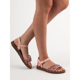 Ploché sandále s kryštálmi