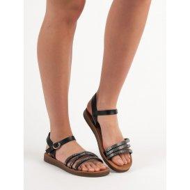 Ploché sandálky s kryštálmi