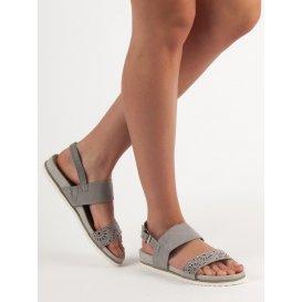 Šedé dierkované sandále