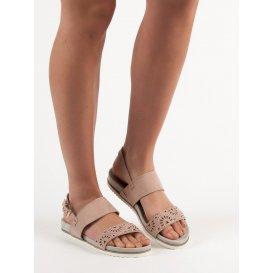 Púdrové dierkované sandále