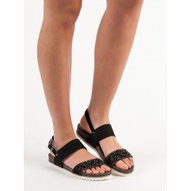 Čierne dierkované sandále
