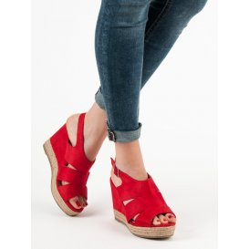 Červené sandále espadrilky