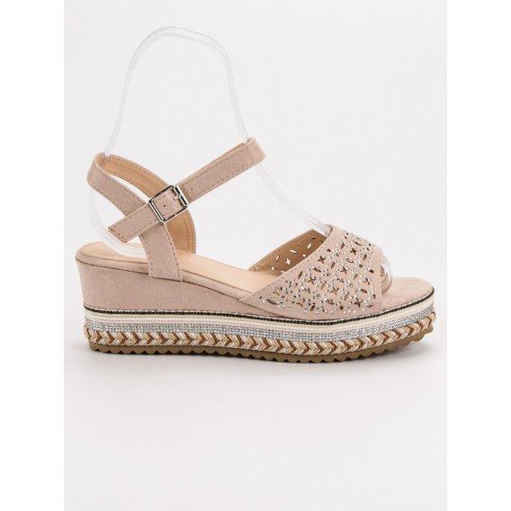 Semišové sandále s kryštálmi