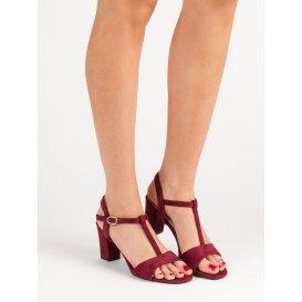 Vínové semišové sandále