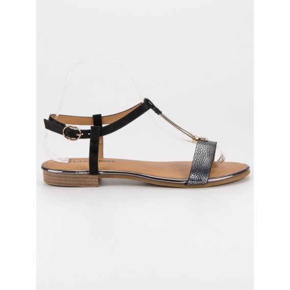 Čierne ploché sandále