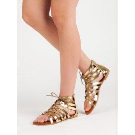 Zlaté viazané sandále