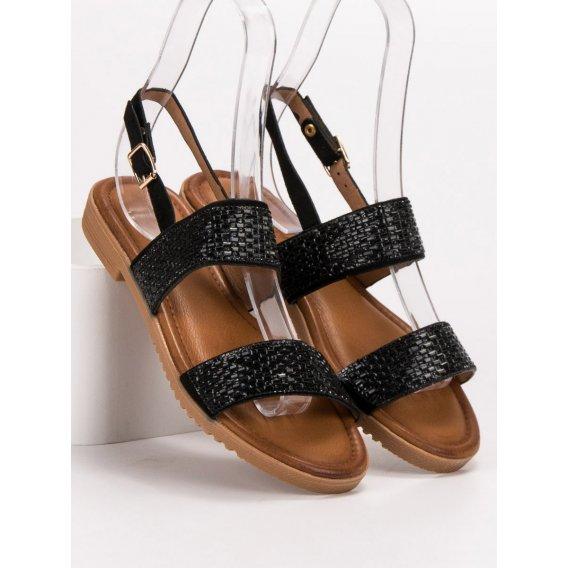 Čierne sandále s kryštálmi