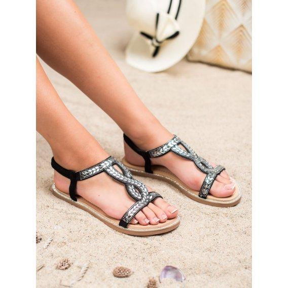 Nazúvacie sandálky s kryštálmi